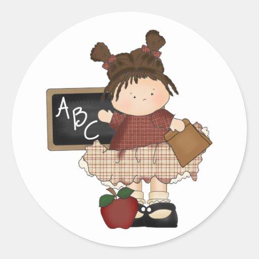 Regalo de la escuela del chica de ABC Pegatina Redonda