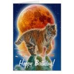 Regalo de la fauna del gato grande del tigre felicitacion