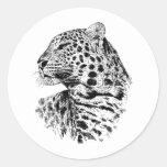 Regalo de la fauna del leopardo pegatina redonda
