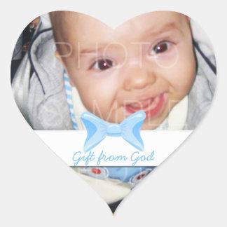 Regalo de la foto del bebé del arco azul de dios pegatina corazon