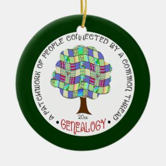 Regalo de la genealogía del día de fiesta del adorno navideño redondo de cerámica