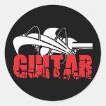 Regalo de la guitarra etiqueta redonda