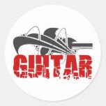 Regalo de la guitarra pegatina redonda