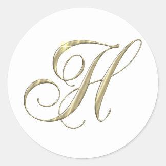 Regalo de la inicial del monograma de la letra H Pegatina Redonda