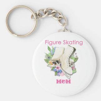 Regalo de la mamá del patinaje artístico pica llavero redondo tipo pin
