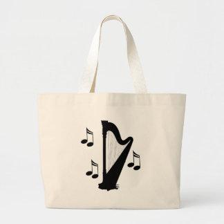 Regalo de la música de la arpa de la silueta bolsa de tela grande