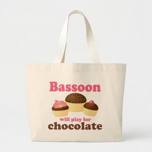 Regalo de la música del Bassoon del chocolate Bolsa De Tela Grande