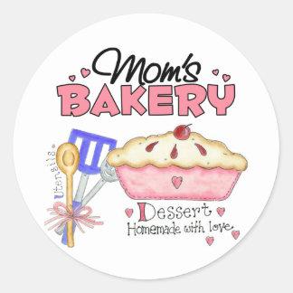 Regalo de la panadería de la mamá etiqueta redonda