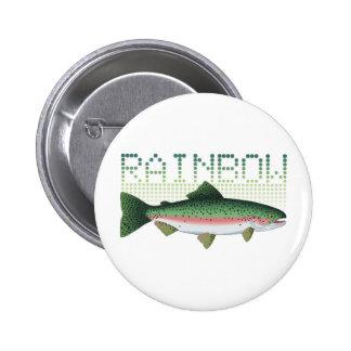Regalo de la trucha arco iris para un pescador o u pin redondo de 2 pulgadas