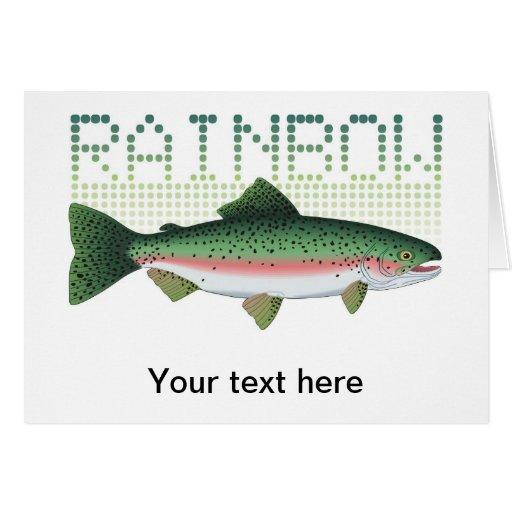 Regalo de la trucha arco iris para un pescador o u tarjeta de felicitación
