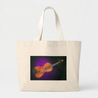 Regalo de la viola del violín en fondo azul bolsa tela grande