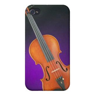 Regalo de la viola del violín en fondo azul iPhone 4 funda