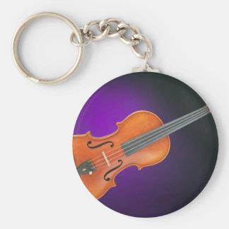 Regalo de la viola del violín en fondo azul llavero redondo tipo pin
