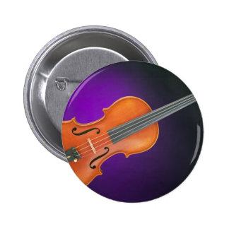 Regalo de la viola del violín en fondo azul pin redondo 5 cm