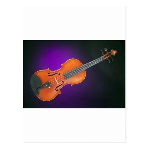 Regalo de la viola del violín en fondo azul postal
