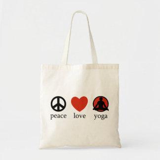 Regalo de la yoga del amor de la paz bolsa tela barata