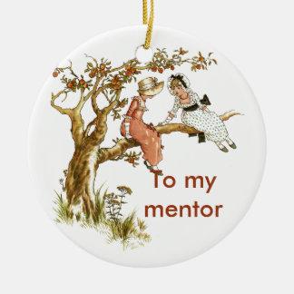 Regalo de los chicas del vintage para el mentor adorno navideño redondo de cerámica