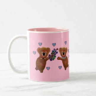 Regalo de los nombres del par del amor de la koala tazas de café