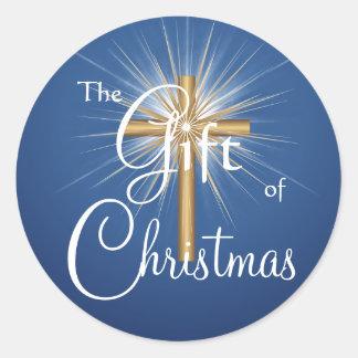 Regalo de los pegatinas cruzados del navidad pegatina redonda