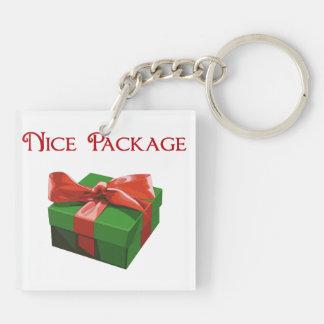 Regalo de Navidad agradable del paquete Llavero Cuadrado Acrílico A Doble Cara