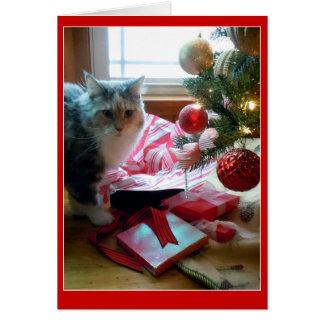Regalo de Navidad de apertura reventado gato Tarjeta De Felicitación