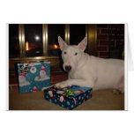 regalo de Navidad de bull terrier del inglés Felicitación