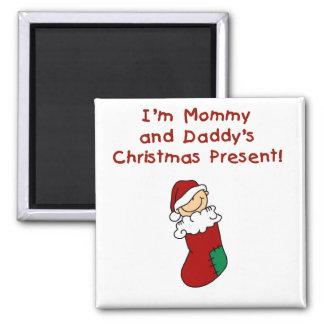 Regalo de Navidad de la mamá y del papá Imán Cuadrado