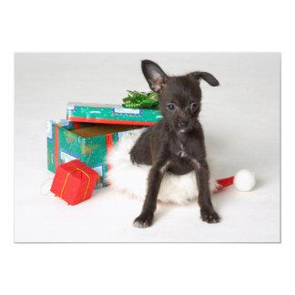 """Regalo de Navidad del perrito Invitación 5"""" X 7"""""""