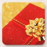 Regalo de Navidad rojo Posavasos De Bebidas