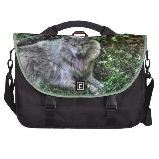 Regalo de reclinación de la fauna del lobo gris 3 bolsas de portatil
