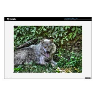 Regalo de reclinación de la fauna del lobo gris 3 calcomanías para 38,1cm portátiles