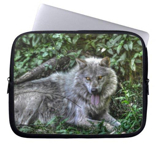 Regalo de reclinación de la fauna del lobo gris 3 funda portátil