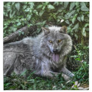 Regalo de reclinación de la fauna del lobo gris 3 servilletas imprimidas