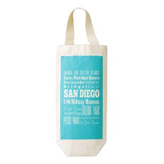 Regalo de San Diego única, California Bolsa Para Botella De Vino Zazzle HEART