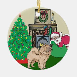 Regalo de Santas del perro chino de perro chino Adorno Navideño Redondo De Cerámica