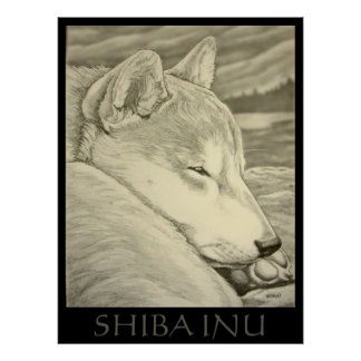 Regalo de Shiba Inu del poster del arte del perro