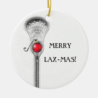 regalo de vacaciones del lacrosse adorno navideño redondo de cerámica