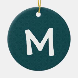 Regalo de vacaciones verde del monograma M del Adorno De Reyes