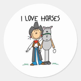 Regalo del amante del caballo etiqueta redonda