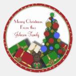 Regalo del árbol de navidad etiquetas