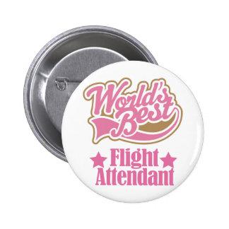 Regalo del asistente de vuelo (mundos mejores) pin redondo 5 cm