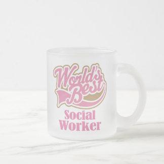 Regalo del asistente social taza de café esmerilada