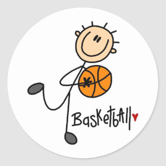Regalo del baloncesto etiqueta redonda