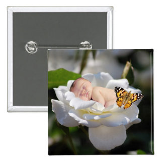 Regalo del bebé y del rosa blanco pin