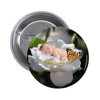 Regalo del bebé y del rosa blanco pins
