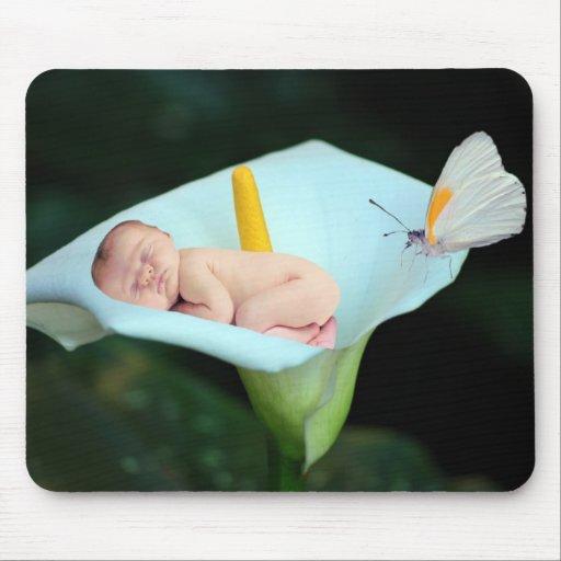 Regalo del bebé y waterlily de la flor alfombrillas de raton