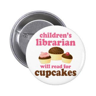 Regalo del bibliotecario de niños del amante de la pin redondo 5 cm