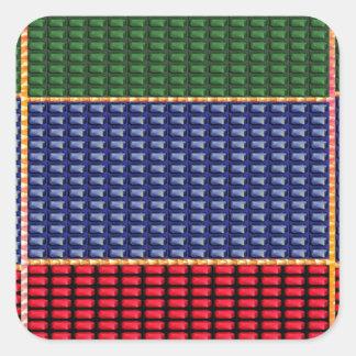 REGALO del botón del verde del rojo azul de Calcomanías Cuadradass