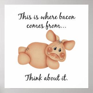 Regalo del cerdo de los derechos de los animales poster