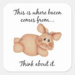 Regalo del cerdo de los derechos de los animales calcomanías cuadradas personalizadas